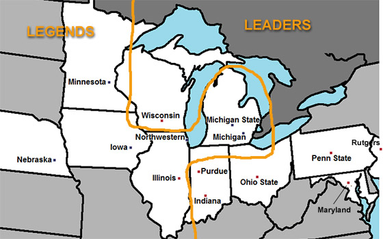 Map: Big Ten Leaders and Legends Divisions