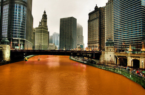 Chicago River dyed orange
