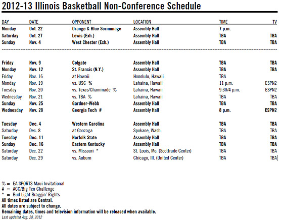 2012 Illini basketball non-conference schedule