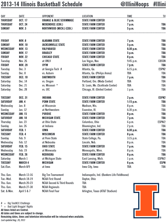 Illini Basketball Schedule 2013 14 Released