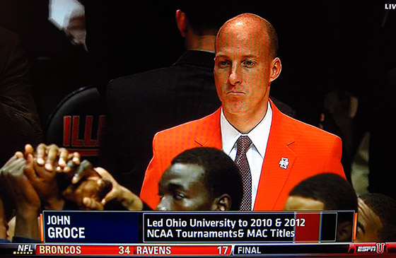 John Groce in the orange blazer