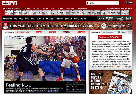 Illinois on the front page of ESPN.com