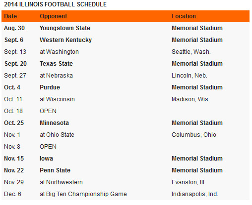 Illini football schedule 2014