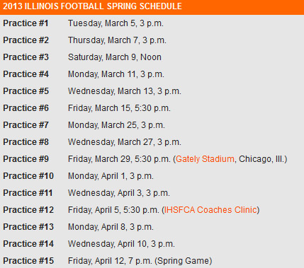 Illini football Spring Game schedule