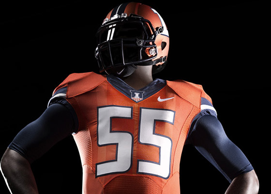 New Illini orange football jersey with orange helmet
