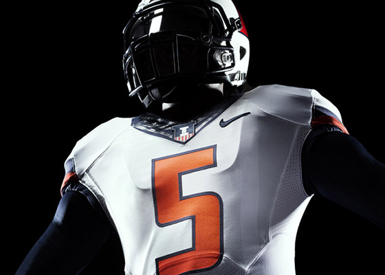 New Illini white football jersey and white helmet