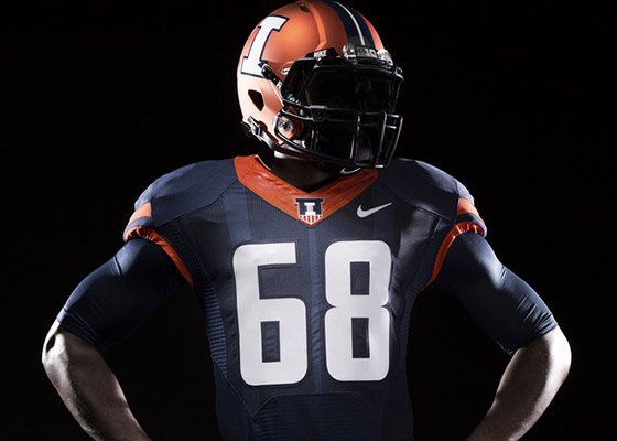 New Illini orange football helmet with blue jersey