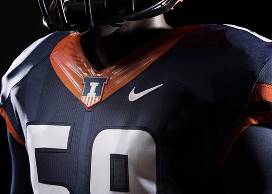 New Illini blue footbal jerseys with shield logo