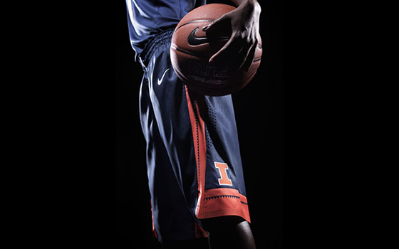 New Illini blue basketball shorts with block I logo