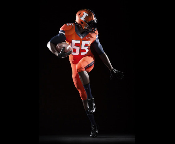 New Illini orange football uniform with orange helmet