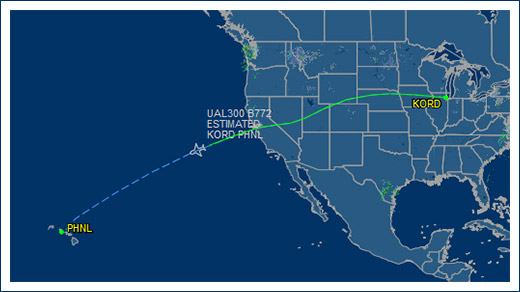 Illini ORD Hawaii flight path
