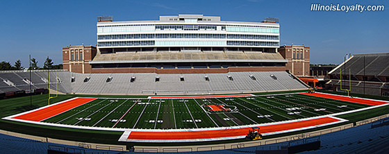 Memorial Stadium Illinois new turf