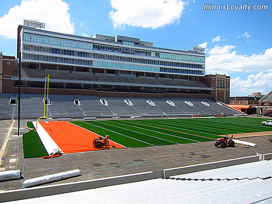 Memorial Stadium Illinois new turf installation