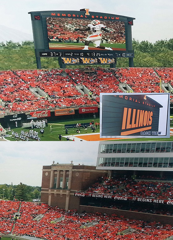 New Memorial Stadium scoreboard