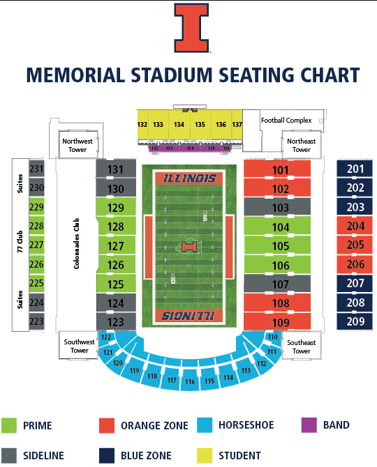 Football seating chart university of illinois memorial stadium and