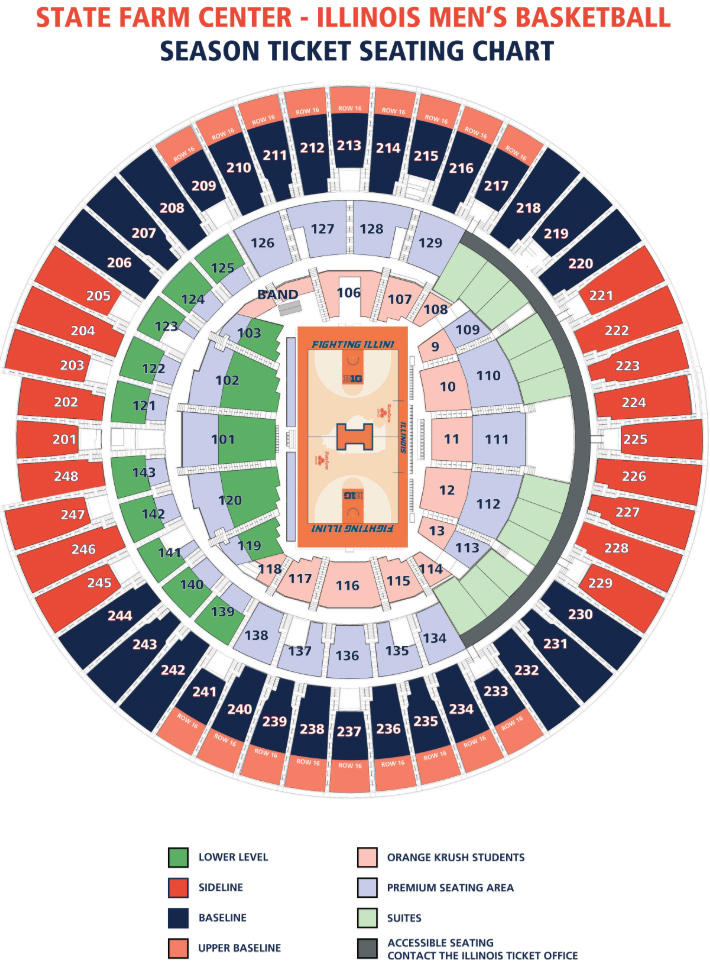 Basketball Seating Chart University Of Illinois State Farm Center