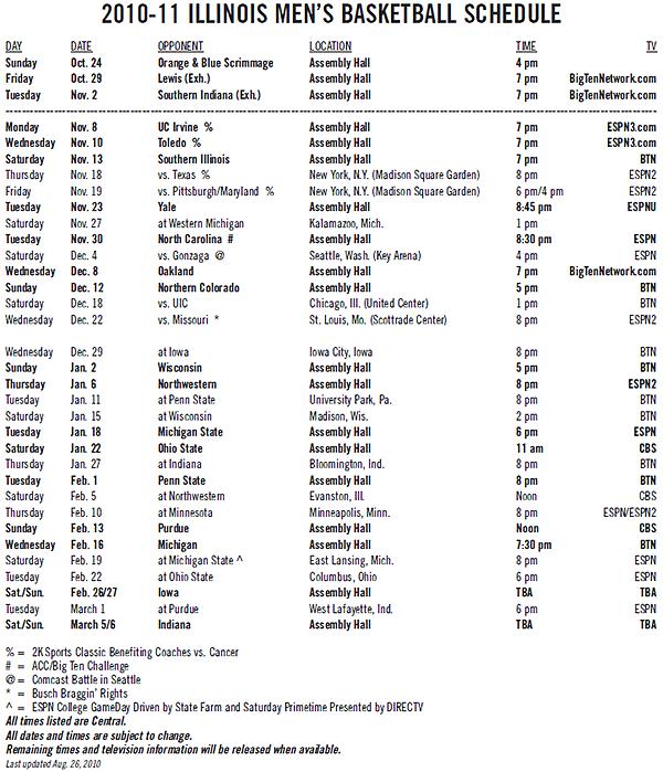 the 2010 11 illinois men s basketball schedule has been released